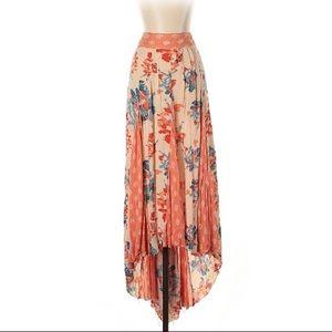 Beautiful Free People Floral Hi Low Maxi Skirt M